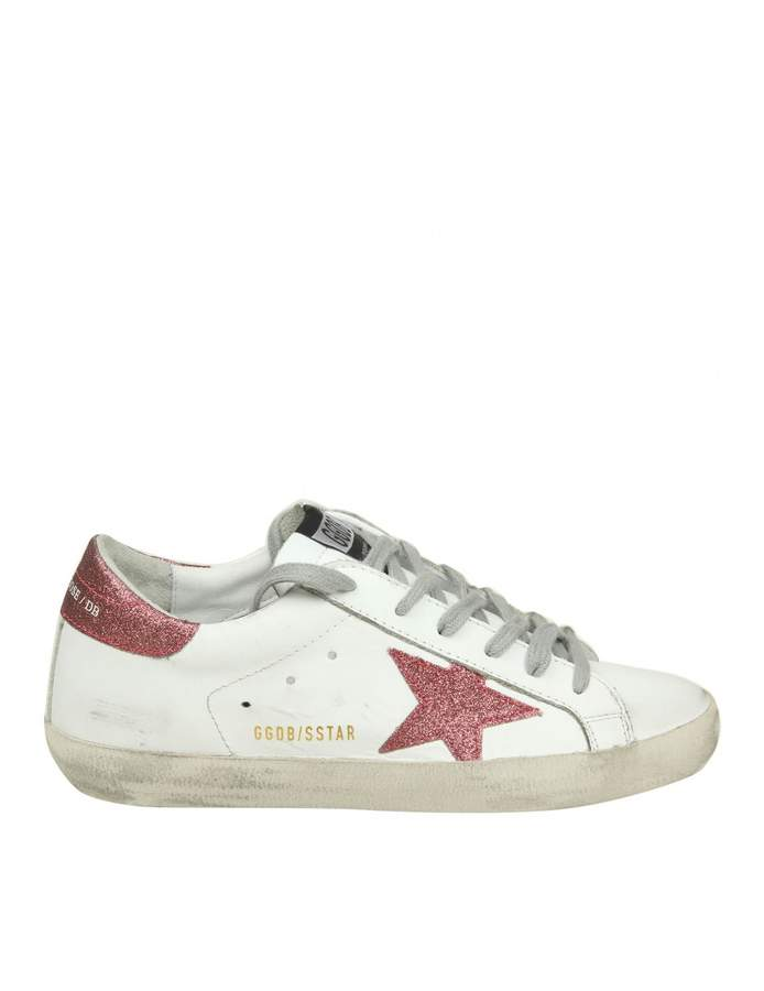 Golden Goose superstar Sneakers In White Leather With Glittered Star