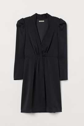 H&M Puff-sleeved Jacket Dress - Black