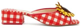 Sophia Webster Doris Leather-trim Gingham Mules - Womens - Red Multi