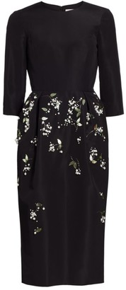Carolina Herrera Embellished Silk Crepe de Chine Sheath Dress