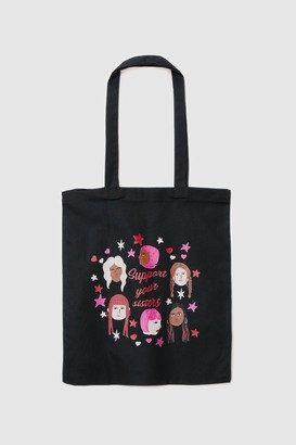 Nasty Gal Womens WANT Support Your Sisters Graphic Tote Bag - Black