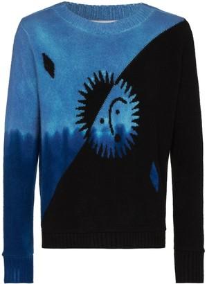 The Elder Statesman two-tone intarsia-knit cashmere sweater