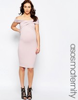 Asos Midi Body-Conscious Dress With Twist Off Shoulder