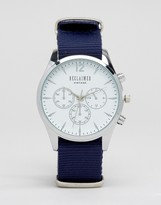 Reclaimed Vintage Chronograph Canvas Watch In Blue
