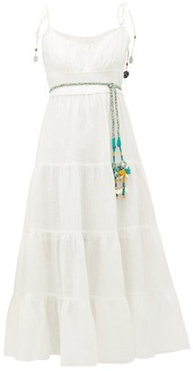 Zimmermann Edie Tiered Linen Midi Dress - Womens - Ivory