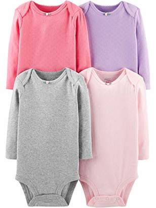 Carter's Simple Joys by Girls' 4-Pack Soft Thermal Long Sleeve Bodysuits