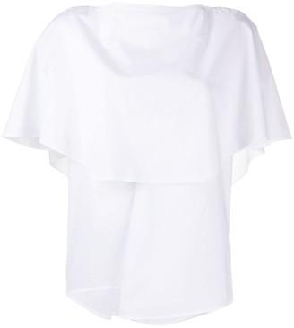 Enfold Short-Sleeve Cape Blouse