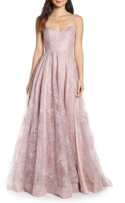 La Femme Sequin Floral A-Line Gown
