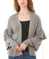 Couture Simply Women's Open Cardigans GREY - Gray Ruffle-Sleeve Open Cardigan - Women