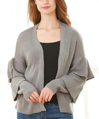 Couture Simply Women's Open Cardigans GREY - Gray Ruffle-Sleeve Open Cardigan - Women