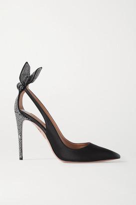 Aquazzura Bow Tie 105 Crystal-embellished Satin Pumps - Black