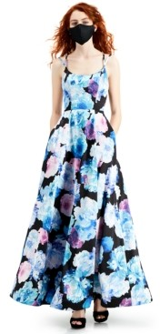 Crystal Doll Juniors' Floral-Print Ball Gown with Pockets