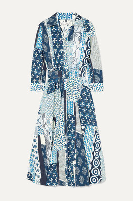 Oscar de la Renta Belted Patchwork Printed Woven Midi Dress - Blue