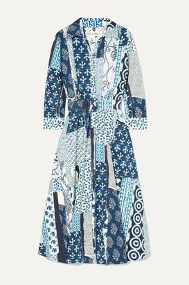 Oscar de la Renta Belted Patchwork Printed Woven Midi Dress - Blue