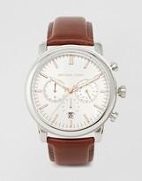 Michael Kors MK8372 Landaulet Chronograph Brown Leather Strap Watch