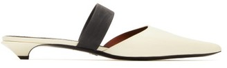 Proenza Schouler Contrast-panel Patent-leather Mules - Womens - Cream