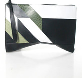Narciso Rodriguez Army Green Black White Leather Wristlet Clutch Handbag New