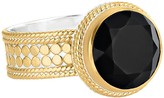 Anna Beck 18K Gold Plated Sterling Silver Black Onyx Stone Ring