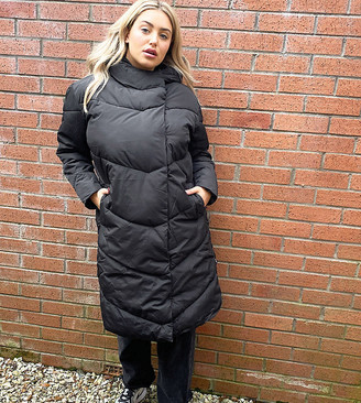 Noisy May Curve longline padded coat in black