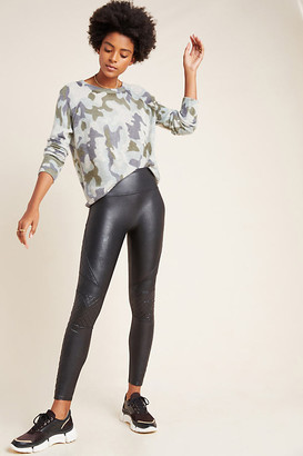 Spanx Quilted Faux Leather Leggings By in Black Size XS