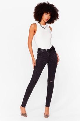 Nasty Gal Womens Marble Wahed Skinny Jeans - Black - 10