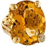 Christian Dior 18K Citrine & Diamond Miss Cocktail Ring