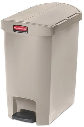 Rubbermaid Commercial Products Commercial Slim Jim Resin Step-On Container, End Step Style, 8 gal, Beige