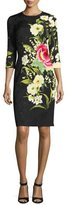 Naeem Khan Floral-Jacquard 3/4-Sleeve Cocktail Dress, Black/Yellow