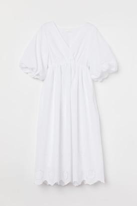 H&M MAMA Puff-sleeved Dress - White