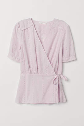 H&M Embroidered Cotton Top - Purple