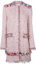 MSGM midi tweed jacket - women - Cotton/Linen/Flax/Acrylic/Metallic Fibre - 38