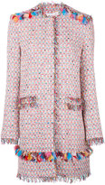 MSGM midi tweed jacket - women - Cotton/Linen/Flax/Acrylic/Metallic Fibre - 44