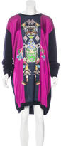 Mary Katrantzou Satin-Paneled Sweater Dress