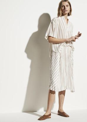 Vince Silky Stripe Crushed Panel Skirt