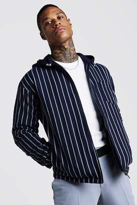 boohoo Stripe Bomber Jacket With Hood