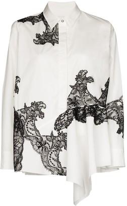 Marques Almeida Asymmetric Lace-Trim Shirt