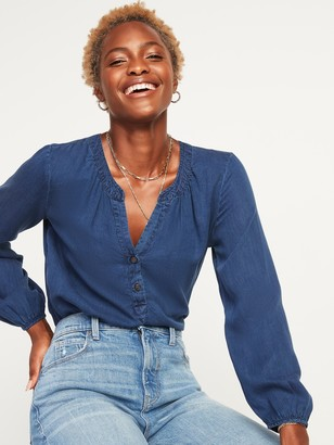 Old Navy Chambray Split-Neck Popover Blouse for Women