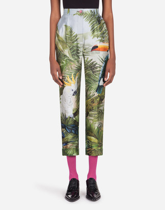 Dolce & Gabbana High-Waisted Pants In Shantung With Jungle Forest Print