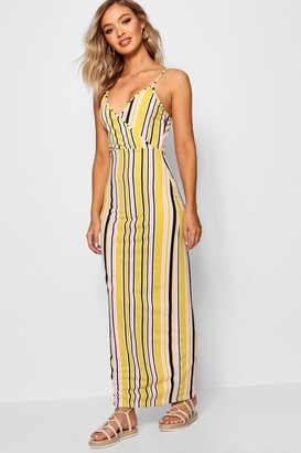 boohoo Stripe Print Wrap Front Maxi Dress