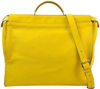 Fendi Yellow Leather Selleria Peekaboo Shoulder Bag