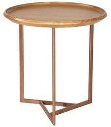 Manhattan Comfort Knickerbocker Modern Brown Wood Round End Table with Steel Base