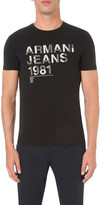 Armani Jeans Flocked-print cotton t-shirt