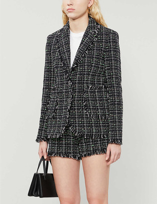 Claudie Pierlot Frayed-trim tweed blazer