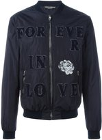 Dolce & Gabbana patched bomber jacket - men - Sheep Skin/Shearling/Polyamide - 54