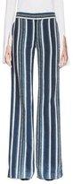 Chloé Striped Silk Wide-Leg Trousers, Navy
