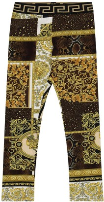 Versace Kids Barocco Mosaic stretch-cotton leggings