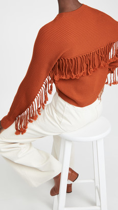Jonathan Simkhai Hannah Draped Fringe Cropped Sweater