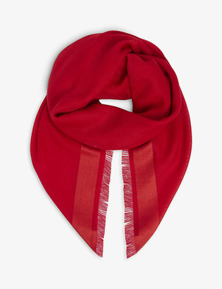 Johnstons Tonal-trim personalised wool, cashmere and silk-blend scarf