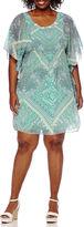 Robbie Bee Short-Sleeve Embellished-Neck Printed Tunic Sheath Dress - Plus