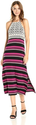 Kensie Women's Striped Halter Mixi Dress with Crochet Lace